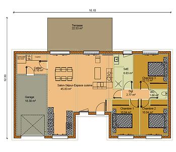 GINKGOBAT construit modèle Epinette, vue en plan