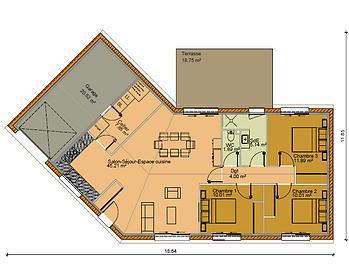 GINKGOBAT construit modèle Amande, vue en plan