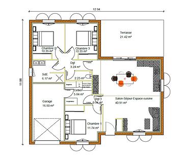 GINKGOBAT construit modèle Charme 2, vue en plan