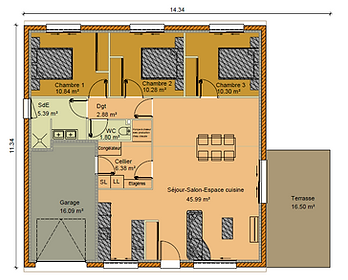 GINKGOBAT construit modèle Kalamia, vue en plan