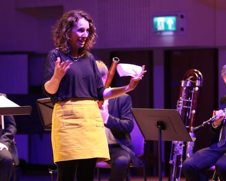 Lynne Plowman speaking at the final concert