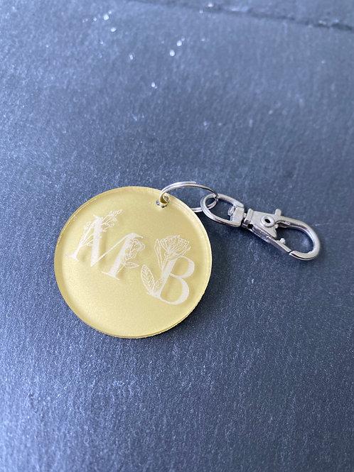 Porte-clé initiales plexi