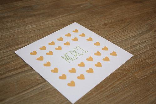 Carte de remerciement coeurs