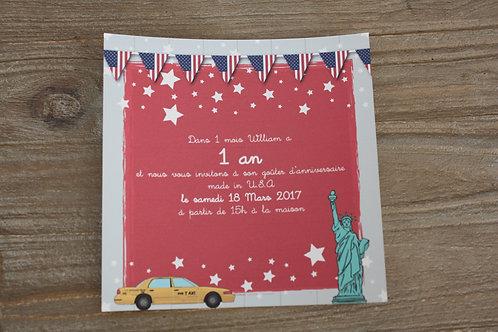 Invitation anniversaire USA