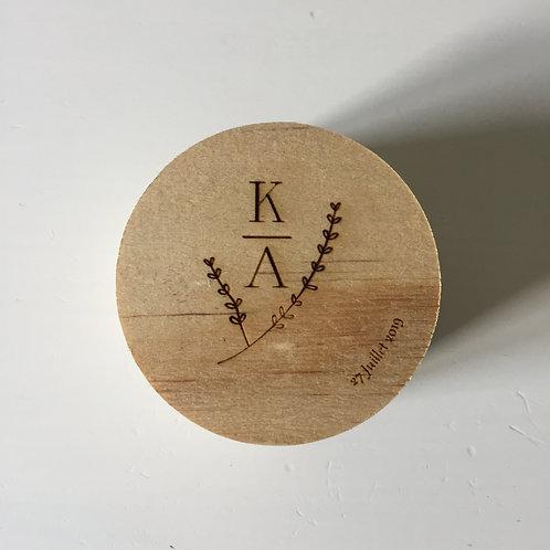 Boîte à alliances personnalisée en bois