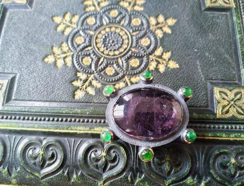 Toermalijn broche - tourmaline brooch
