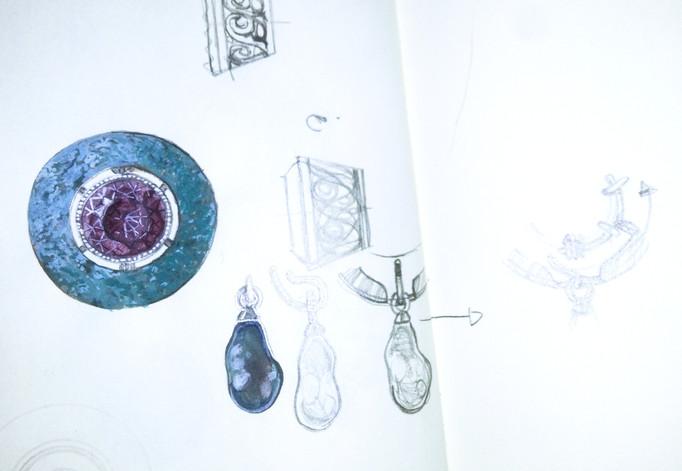 Schets amethist broche - sketch amethyst brooch
