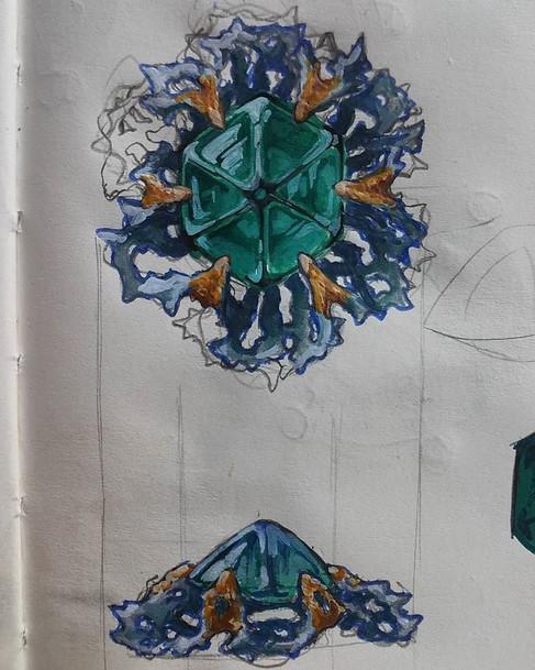 Trapiche emerald sketch