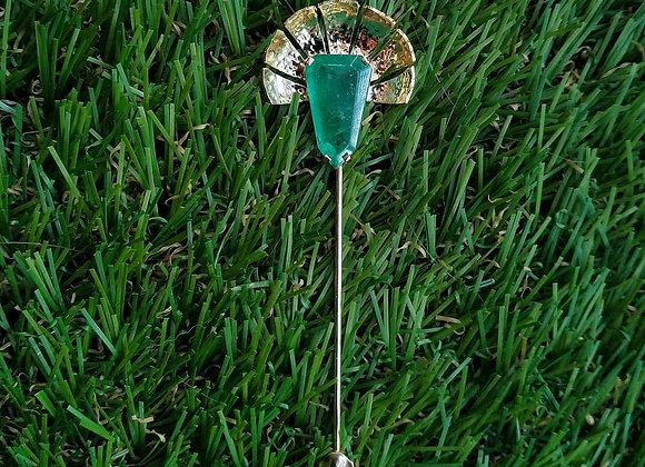 Emerald jabot brooch