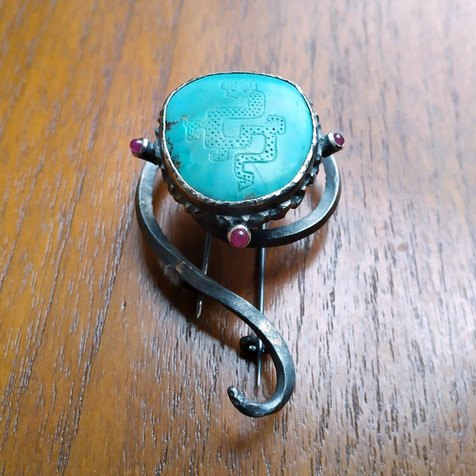 Turkoois broche - turquoise brooch