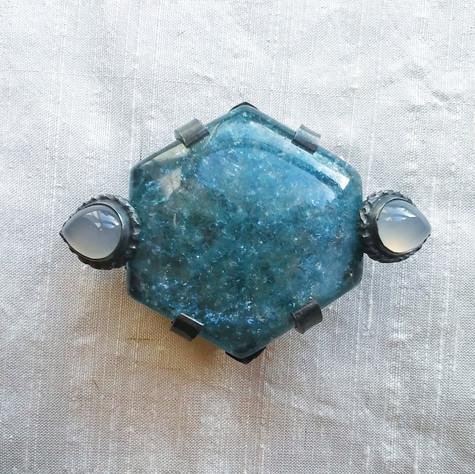 Aquamarijn broche - aquamarine brooch