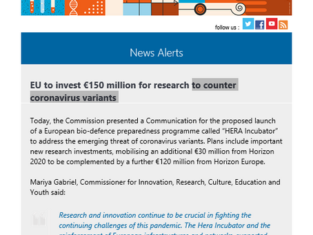 Research and Innovation EU to invest €150 million for research to counter coronavirus variants