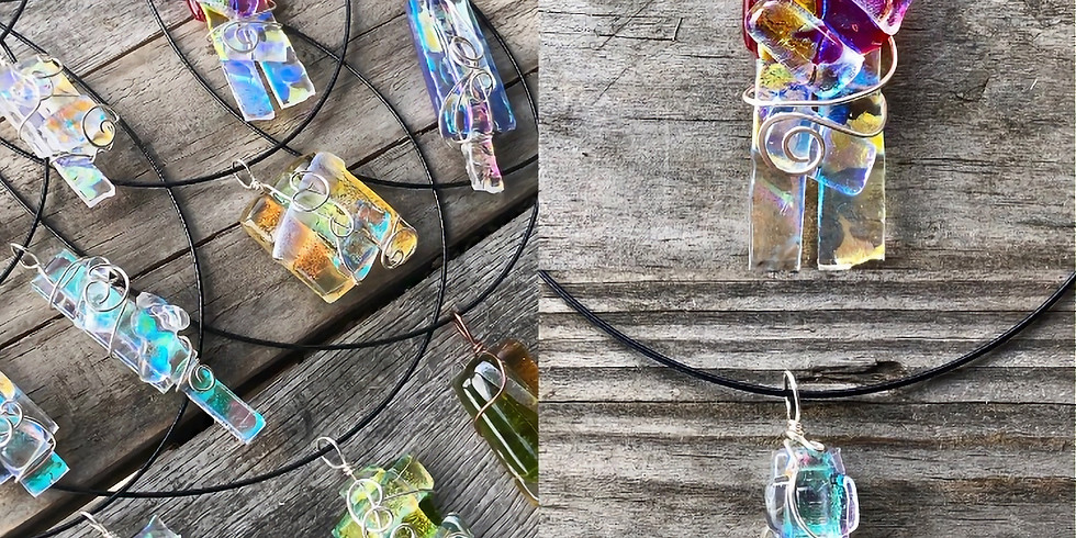 """Arts & """"Drafts"""" - Sterling Wrapped Glass Pendant Necklace"""