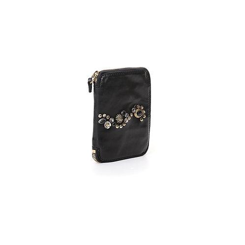 Portefeuille Bella di Notte en cuir noir avec clous