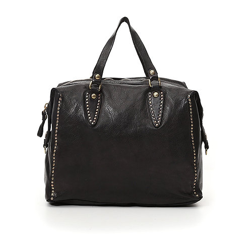 Grand sac bowling Flavia en cuir noir avec rivets