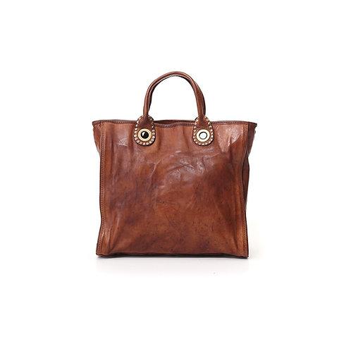Petit sac cabas 'Ottavia' en cuir cognac et profil rivet