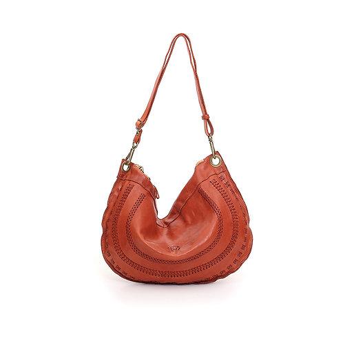 Gallipoli single-strap bag in terracotta leather
