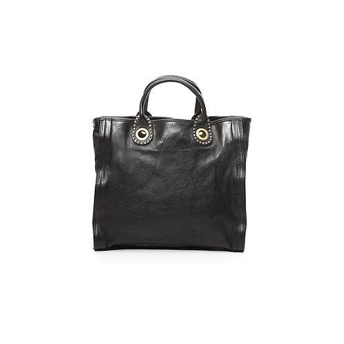 Petit sac cabas Ottavia en cuir noir avec rivets