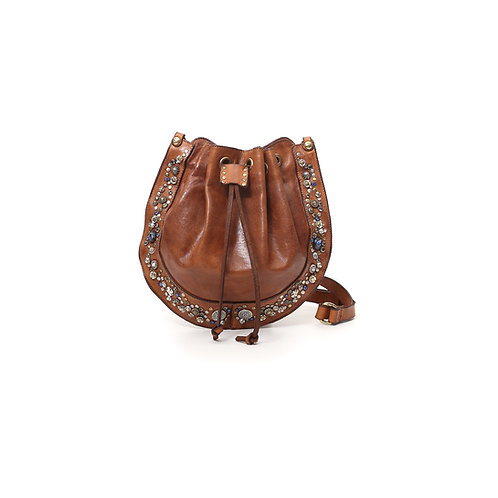 Small Bella di Notte bucket bag in cognac leather with studs