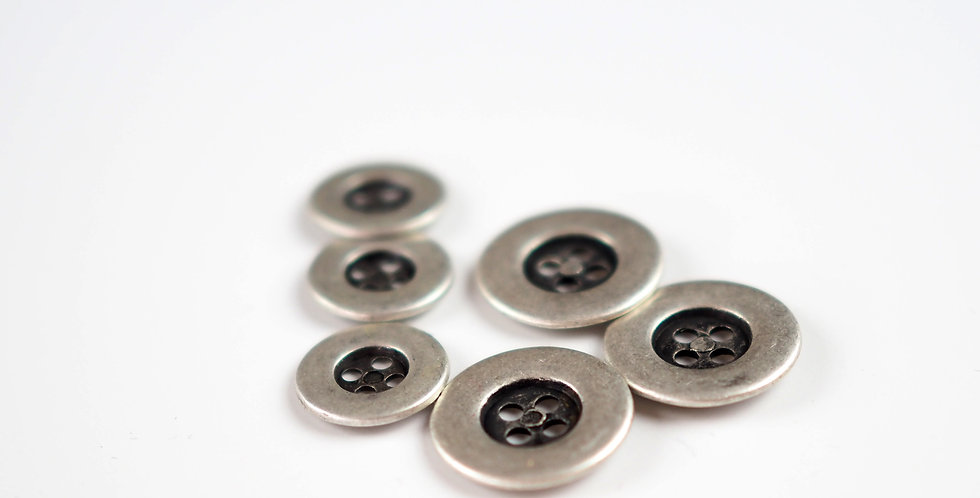 Dull Silver Metal Button 20mm