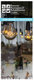 cver of rental brochure with litlightbulbs hanging frm the ceiling and set tables in the background