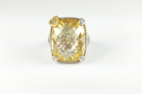 HUGE JUDITH RIPKA TWO SS & DIAMOND CANARY RING