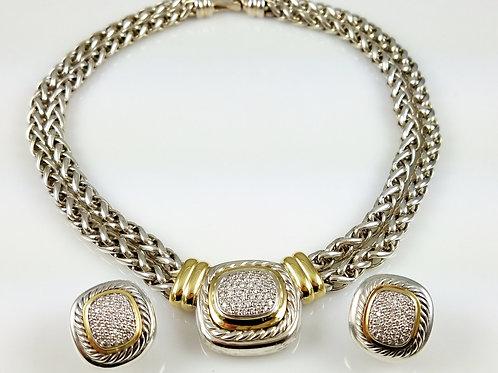 RARE HUGE DAVID YURMAN DIAMOND ALBION NECKLACE & EARRING SET