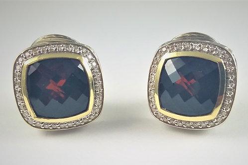DAVID YURMAN SS & 18K DIAMOND GARNET ALBION EARRINGS