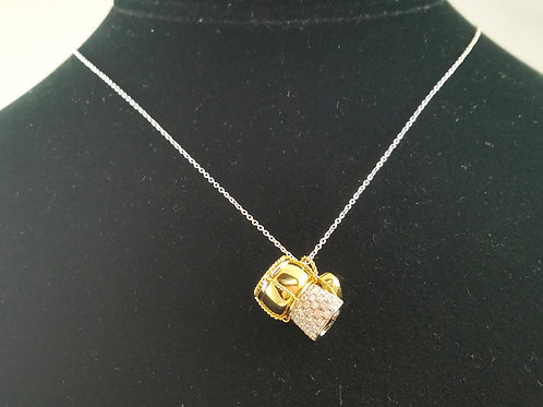 RARE ROBERTO COIN 18K DIAMOND CHAMPAGNE CORK CHARM NECKLACE