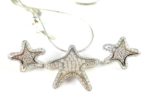 SUNIL WHITE SWAROVSKI CRYSTAL STARFISH NECKLACE & EARRING SET
