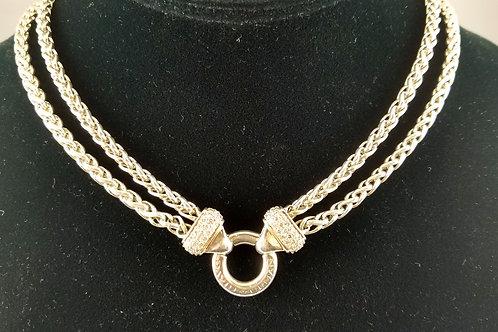 RARE DAVID YURMAN 3-ROW DIAMOND SIGNATURE NECKLACE