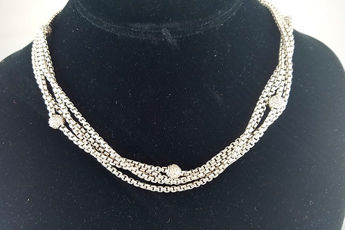 DAVID YURMAN SS & 18K 4-ROW PAVE DIAMOND BALL NECKLACE
