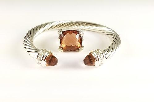 DAVID YURMAN SS DIAMOND MORGANITE 7MM BRACELET & MATCHING RING