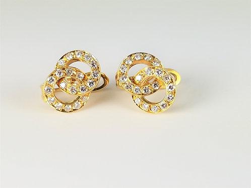 RARE TIFFANY & CO. 18K DIAMOND INTERLOCKING CIRCLE EARRINGS