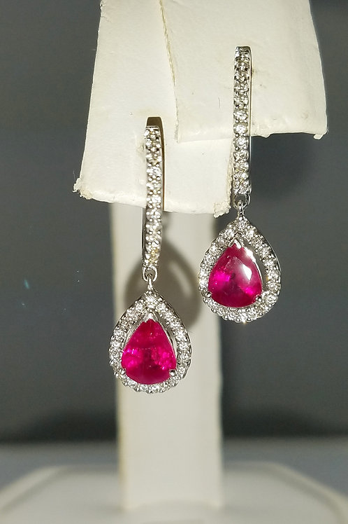 18K WG RUBY & DIAMOND EARRINGS
