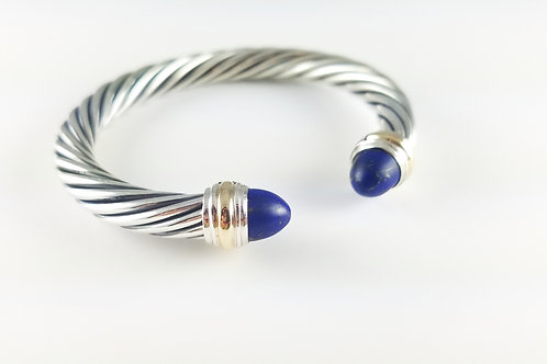 DAVID YURMAN SS & 14K 7MM LAPIS CABLE BRACELET
