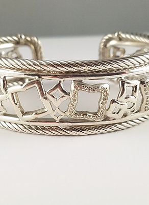 DAVID YURMAN SS DIAMOND TAPESTRY CUFF BRACELET