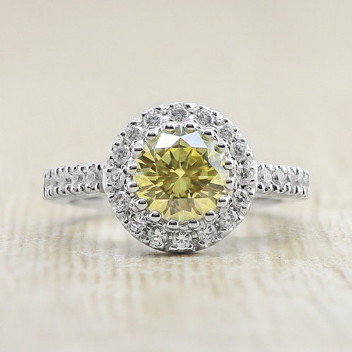 NEXUS SECRET LOVE 10K WG DIAMOND YELLOW CANARY RING