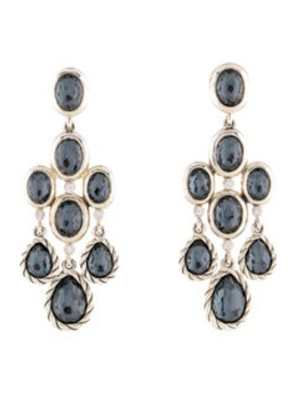 DAVID YURMAN SS DIAMOND HEMATITE CHANDELIER EARRINGS