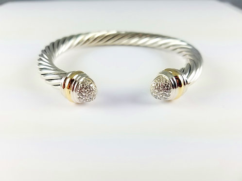 DAVID YURMAN SS & 18K PAVE DIAMOND CLASSIC BRACELET
