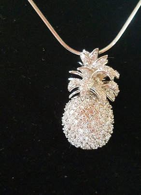3D PINEAPPLE NECKLACE W/SWAROVSKI CRYSTALS