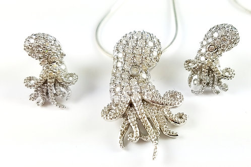 SUNIL WHITE SWAROVSKI CRYSTAL OCTOPUS NECKLACE & EARRING SET