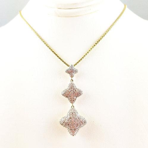 DAVID YURMAN 18K DIAMOND TRIPLE QUATREFOIL NECKLACE