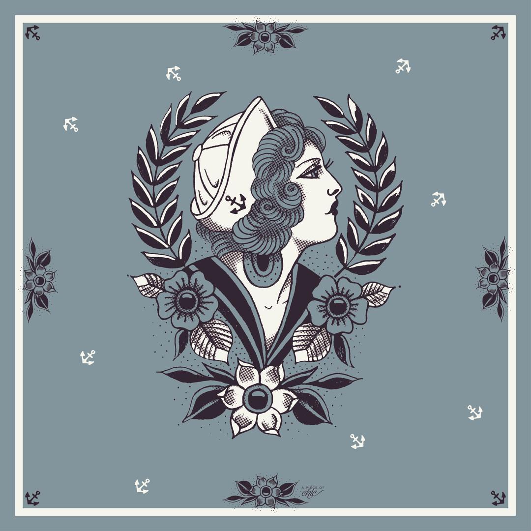 Foulard La Bien Aimée, réalisé à partir d'un tattouage vintage pour A Piece Of Chic