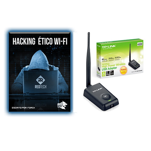 Paquete manual hacking wifi con antena rompemuros