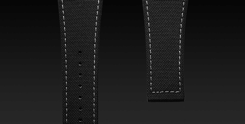 BLACK NYLON TEXTILE STRAP WITH GREY STITCHING