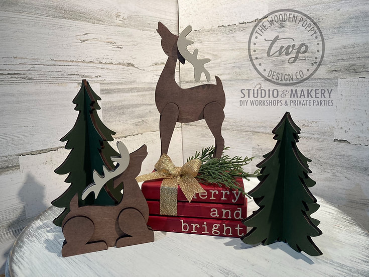 DIY Kit - Reindeer, Trees, & Mini Book Stack