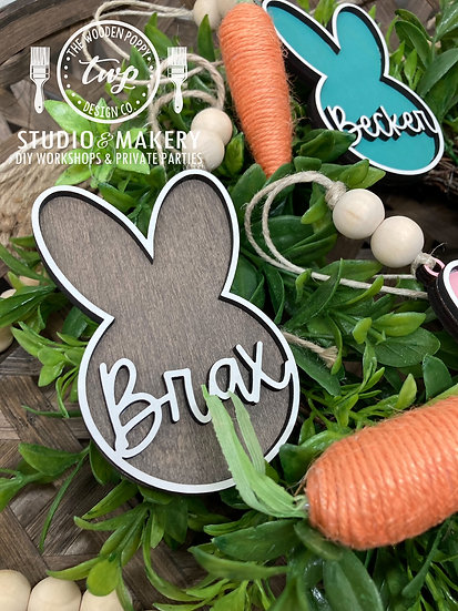 Personalized Bunny Head Easter Basket Tag
