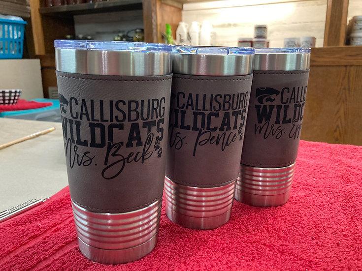 Callisburg Wildcats Laser-Engraved 20oz. Leatherette Tumbler