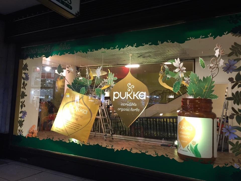 Pukka Wholefoods Tumeric Window Display